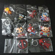 Mista 10 pçs/lote Superhero Spiderman Capitão América Homem De Ferro Batman Deadpool Bizarro O Dr. Figuras Brinquedos de PVC Keychain Bag Pingente(China)