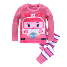 2016 Brand Cartoon Cotton Pijamas Kids Baby Girls Pajamas Set Spring Autumn Sleepwear Children Pyjamas pijama infantil 2-7 years