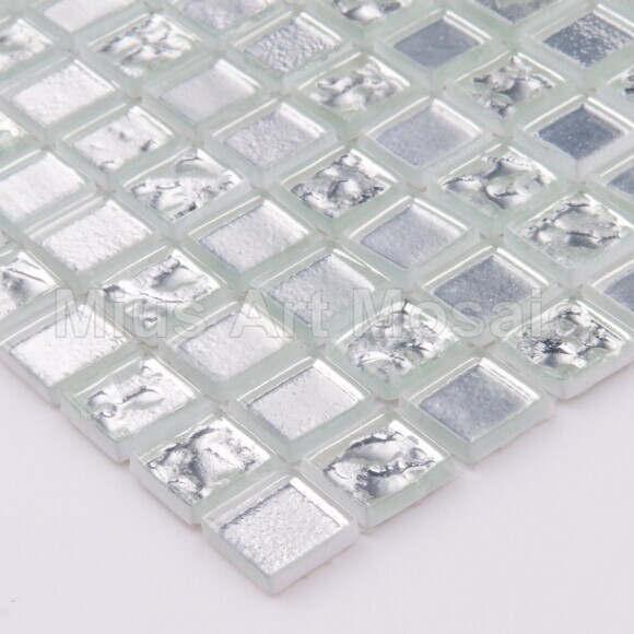 [Mius Art Mosaic]  Pure silver glass mosaic for kitchen backsplash whte mosaic A5W03-HW04-15-4<br><br>Aliexpress