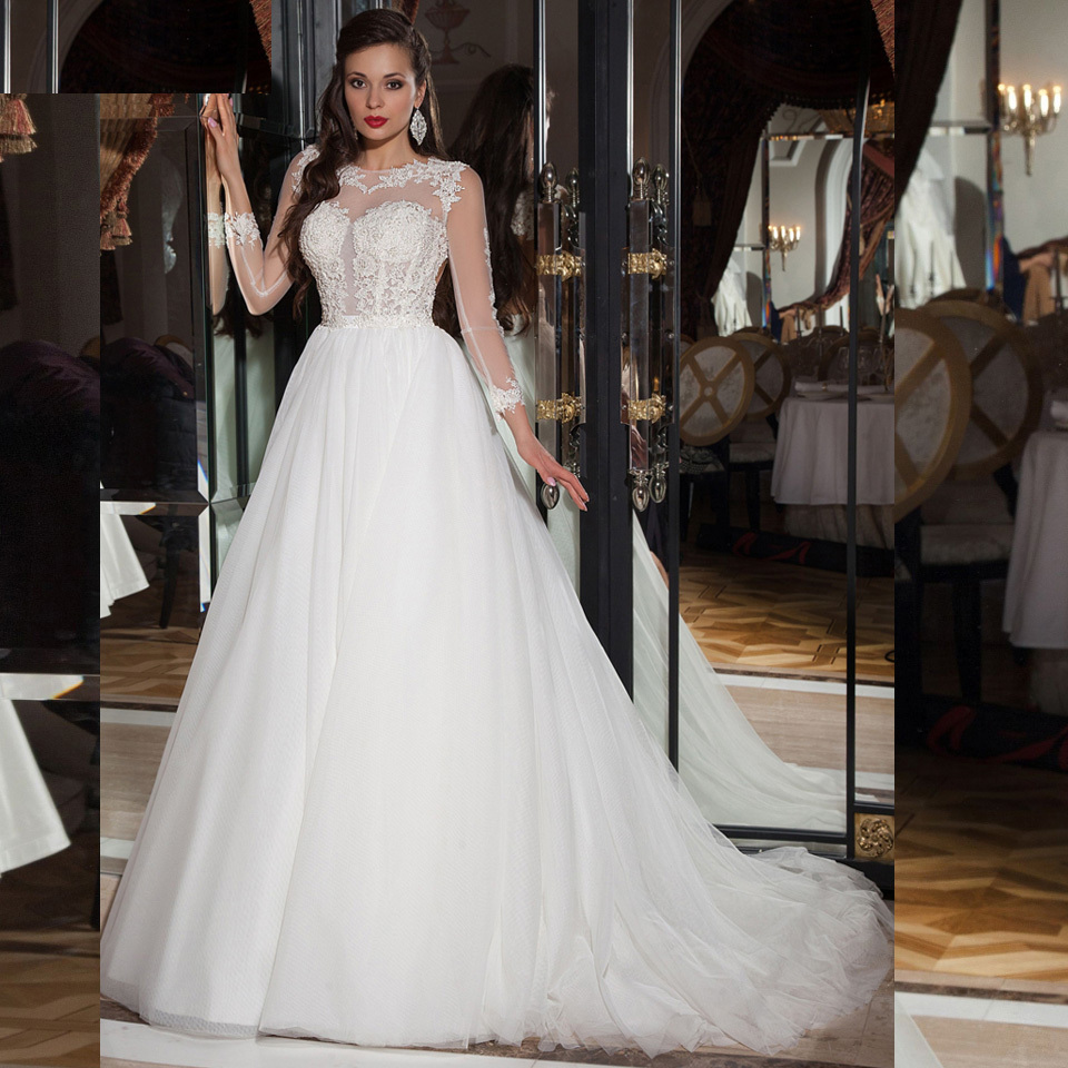 Elegant simple long sleeve wedding dress with lace 2015 for Simple long sleeve wedding dresses