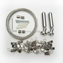 5M Curtain Drape Wire Rod Set and 24Clips Hang Photo Art Picture Stainless Steel(China (Mainland))