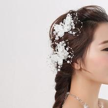 Buy 1 pc Elegance Bride Jewelry Headdress Flower Butterfly Hair Clip Wedding Dress Headwear Barrettes Ornament Trinket Accessories for $1.21 in AliExpress store