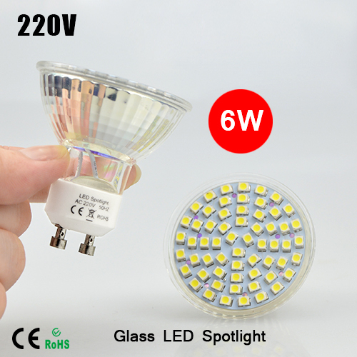 High quality LED lamparas GU10 3528 SMD 60leds Pure White/Warm White led Spotlight 6W 220V Lights Bulb lamps 1pcs(China (Mainland))