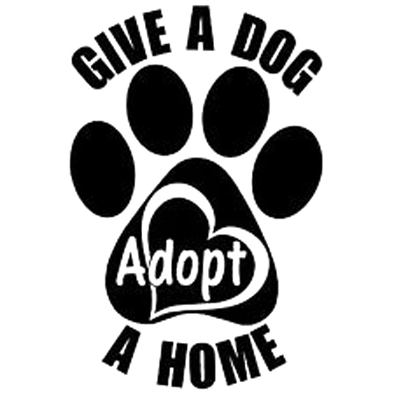 "10.4CM*15.5CM ""Give a Dog a Home"" Adopt Paw Heart Vinyl Decal Sticker Animal Car Stickers Car Accessories Black/Sliver C8-0269(China (Mainland))"