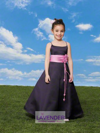 2017 new cute spaghetti straps flower sashes A line brown/pink flower girl dress kids pageant gowns formal custom(China (Mainland))