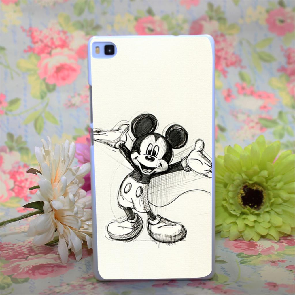 Diseño de mickey mouse Case White Hard Cover para Huawei Ascend P7 P8 P6 P8 lite(China (Mainland))