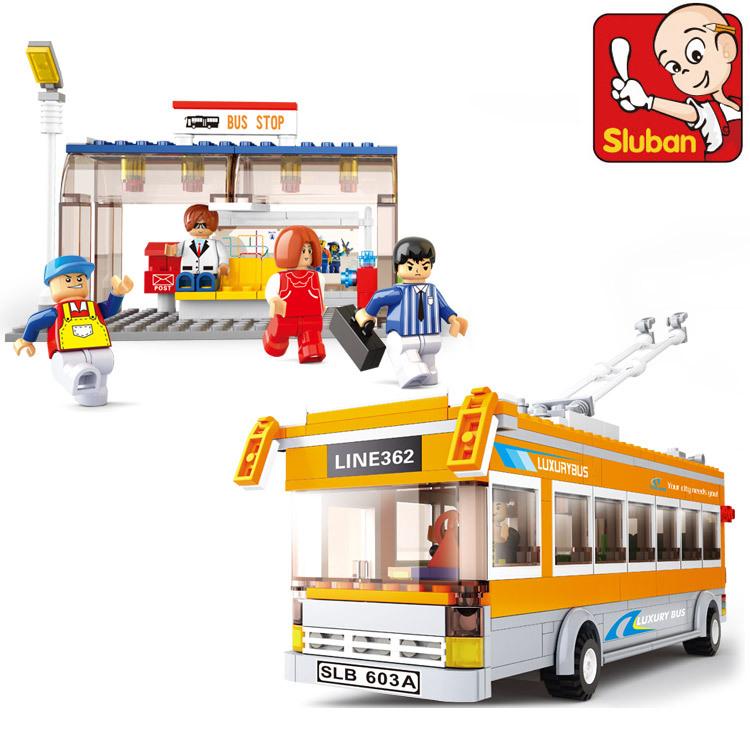 Sluban City Bus Trolley Buses M38-B0332 Building Block Sets 457pcs Educational DIY Jigsaw Construction Bricks Toys for Children(China (Mainland))
