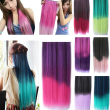 5 Clips Heat Resistant Fiber Synthetic Hair Extensions Straight T Color More Colors Womens High Temperature Hairpiece HB88(China (Mainland))