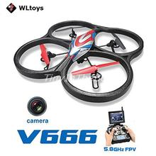 WLtoys V666 4-CH 360 Flips 2.4GHz Radio Control RC Quadcopter with 6-Axis Gyro 720P Camera FPV Monitor RTF