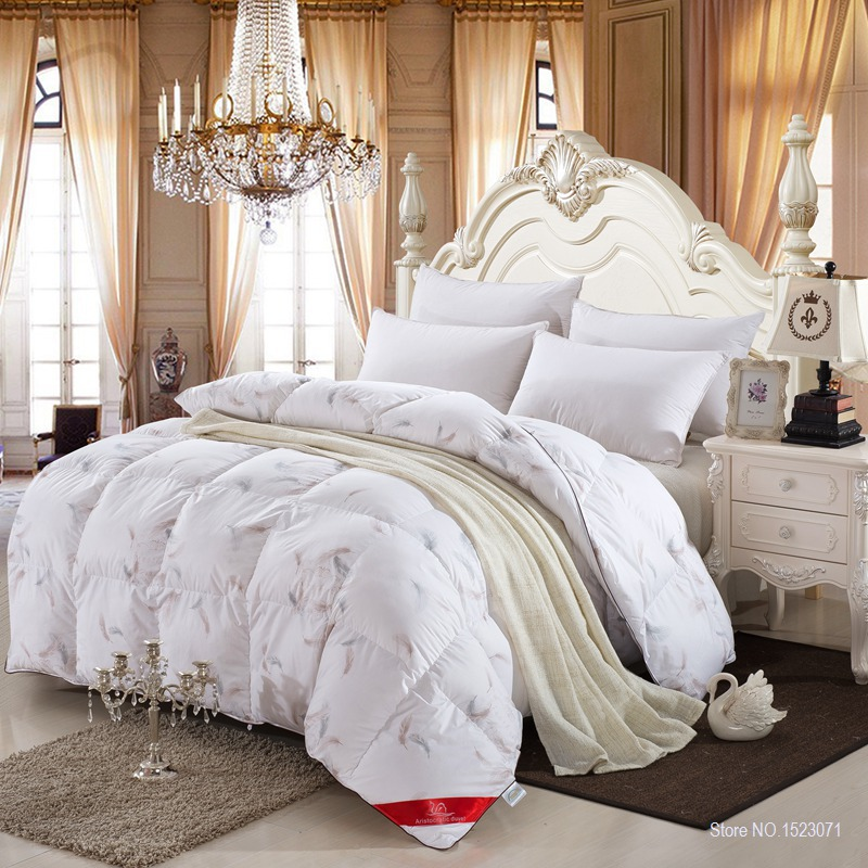 100% white duck/goose down winter quilt comforter blanket duvet filling with cotton cover twin queen king size free fast ship(China (Mainland))