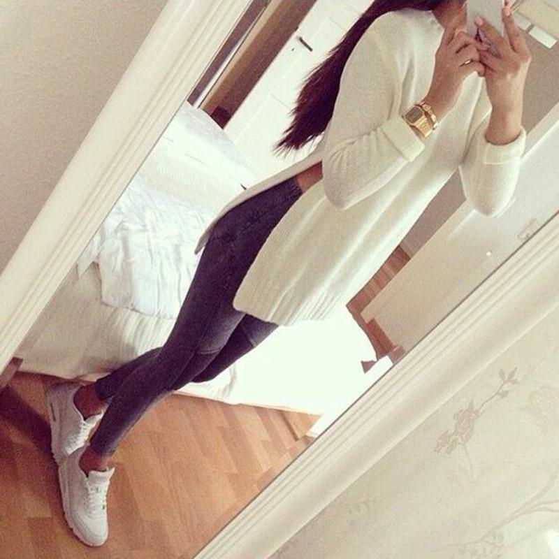 Fashion Lady Knitwear Women Casual Sweater Autumn Winter Knitted Plus Size Split Pullover Sweater(China (Mainland))