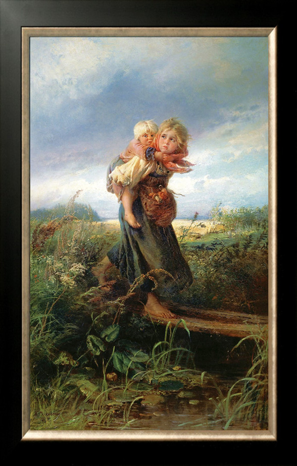 Needlework Craft Home decor French DMC Quality Counted Cross Stitch Kit/Set Oil painting 14 ct Children Running from the Storm(China (Mainland))