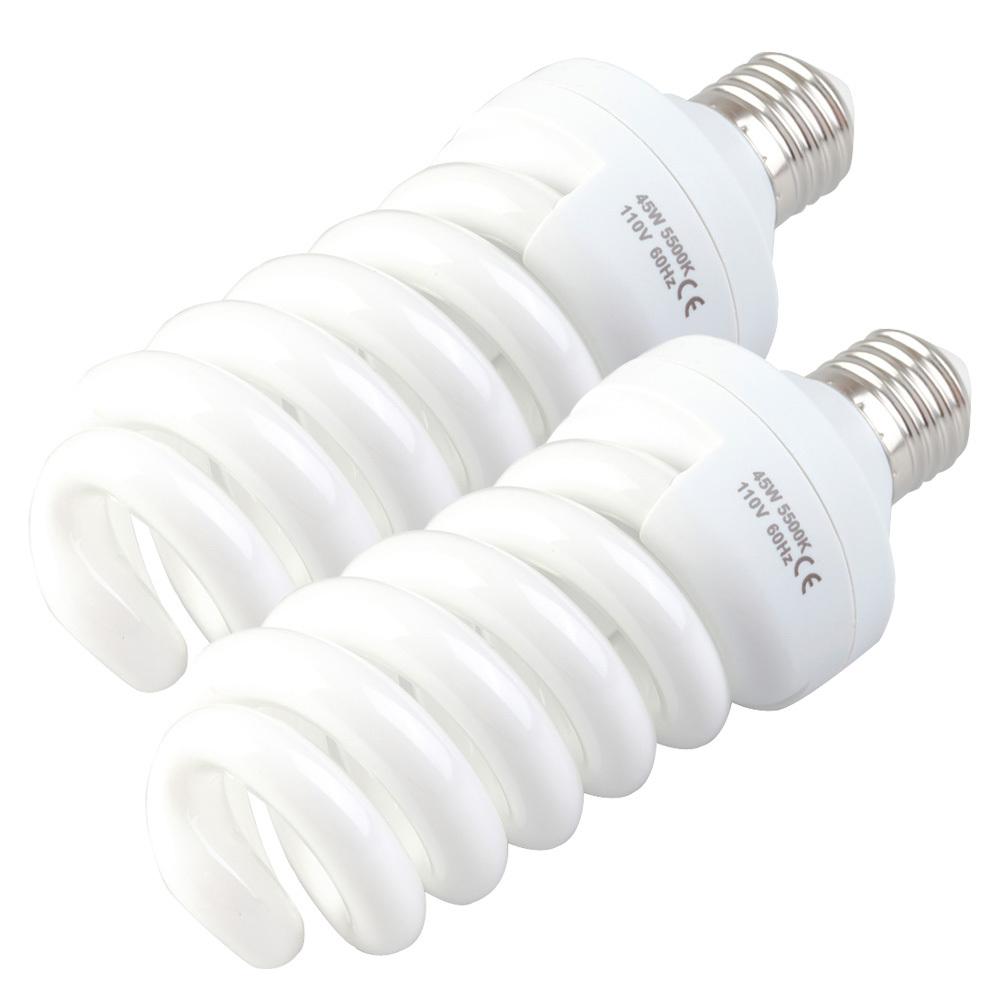 Low Price 2pcs 45W 5500K 110V Photo Daylight Fluorescent Bulb Lamp Video Light Hot Selling(China (Mainland))