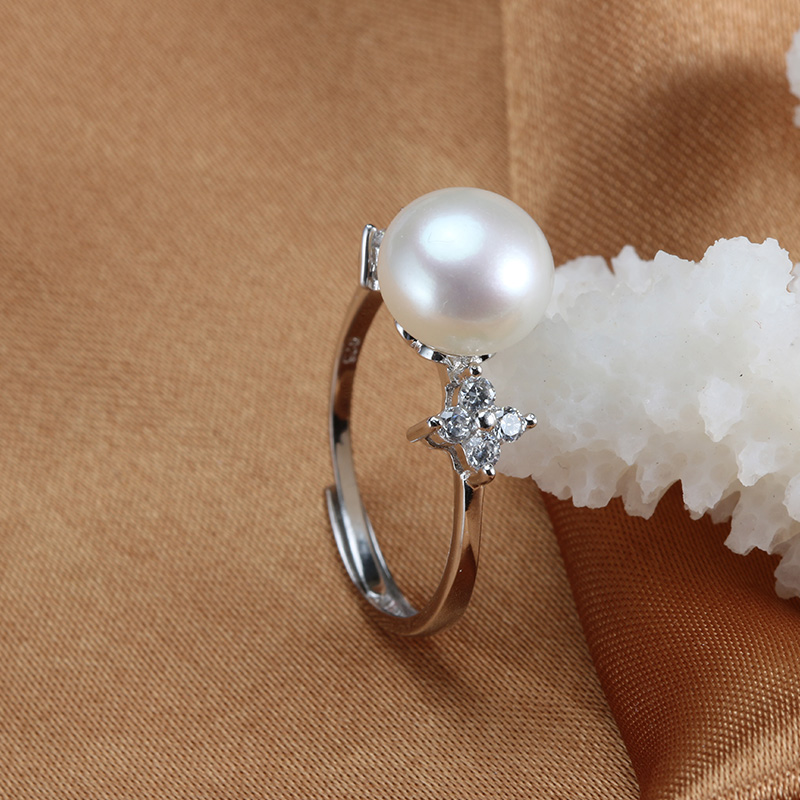 2016 New Arrival Wedding Ring 100% Real Freshwater Pearl Platinum Plated Pearl Ring For Women 8-9mm Pearl Jewelry anel bijoux(China (Mainland))