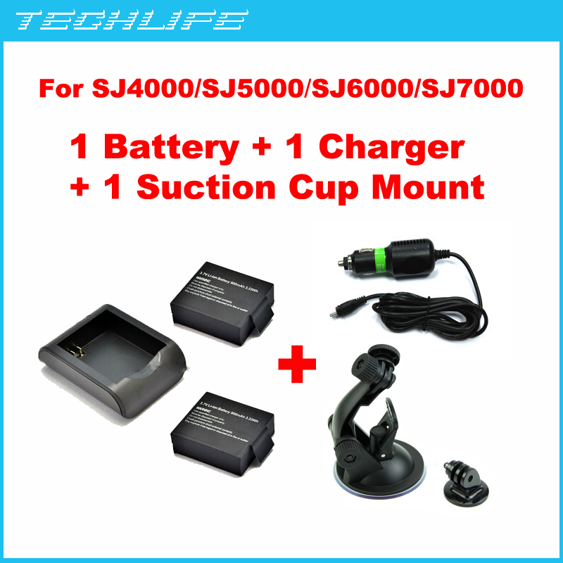 Rechargeable Battery +Car Charger + Suction Cup Mount for SJ4000 SJ5000 SJ6000 SJ7000 sports camera(China (Mainland))