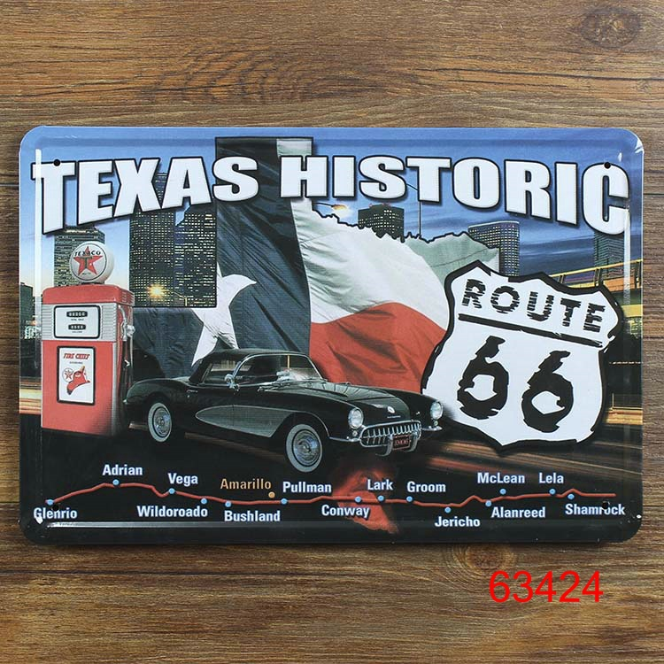 Route US 66 Texas Historic for Metal Poster Wall Decor Retro Bar Tin Sign Painting 20*30 CM Mix Items(China (Mainland))