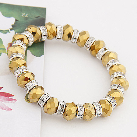 New 2014 Brand Fashion Handmade Imitation Gemstone Jewelry Beads with Rhinestone Strand bracelets bangles items(China (Mainland))