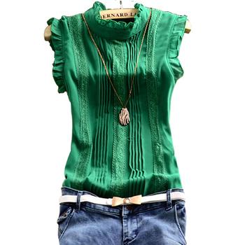 Лето женщины шифон кружева блузка 2015 сладкий рукавов офис зеленый-белый сетка кружева ...