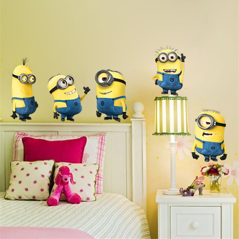 minions movie wall stickers for kids room home decorations diy pvc cartoon decals children gift 3d mural arts posters 30 free shipping worldwide