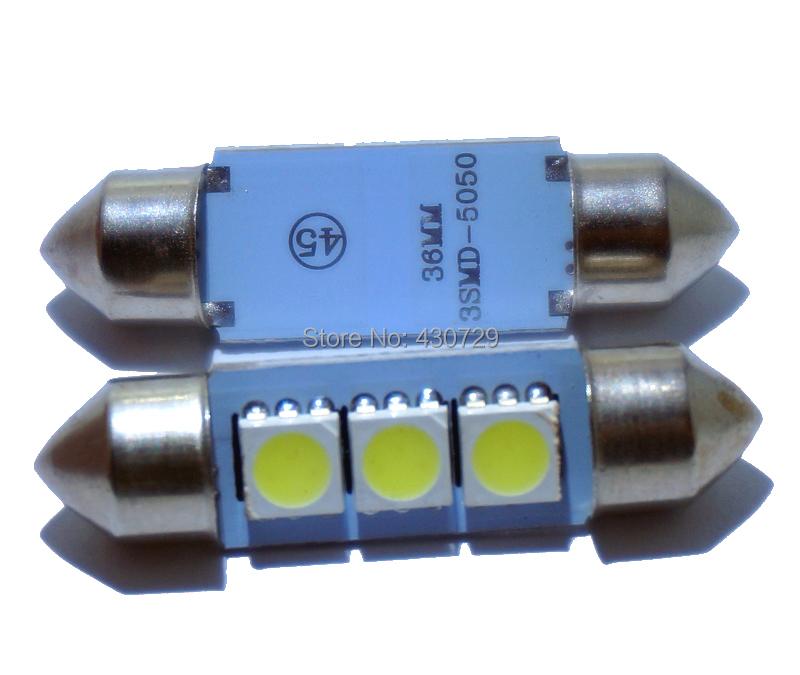 10PCS 36mm 39mm 41mm DC 12V C5W Cold White 3 SMD LED Festoon Interior Dome Light