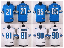 100% Stitiched,Detroit Lions #90 Gabe Wright #85 Eric Ebron #81 Calvin Johnson #21 Ameer Abdullah Golden Tate III(China (Mainland))