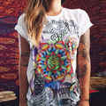 Women T Shirts Short Sleeve Women Printed Letters T Shirts Female Retro Graffiti Flower Tops Tee
