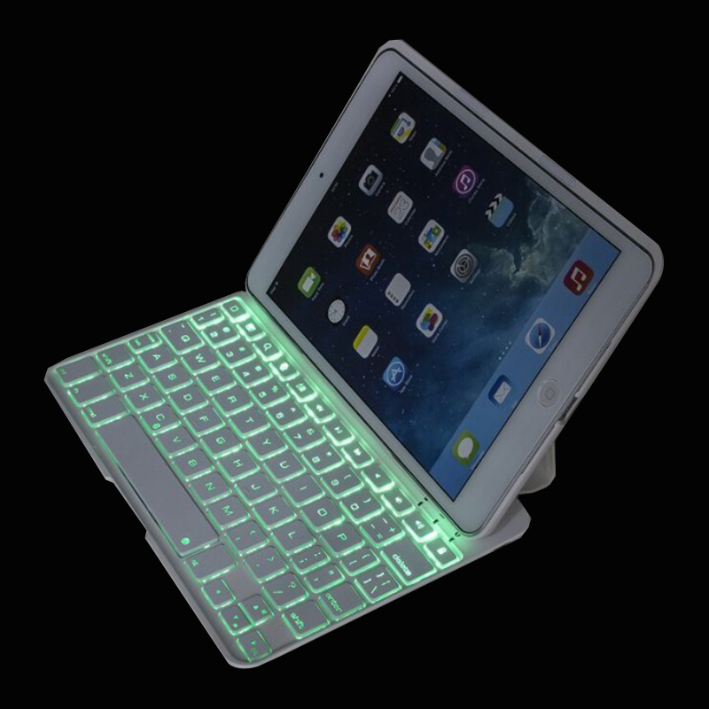 7 Color LED Backlight Ultra Slim F11 Wireless Bluetooth Keyboard Smart Cover Case For iPad Mini1 2 3 7.9 inch(China (Mainland))