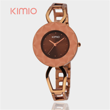 KIMIO Famous Brand Watches Women Dress Skeleton Stainless Steel Bracelet Watch Diamond Cutting Surface Dial Flying Saucer Case