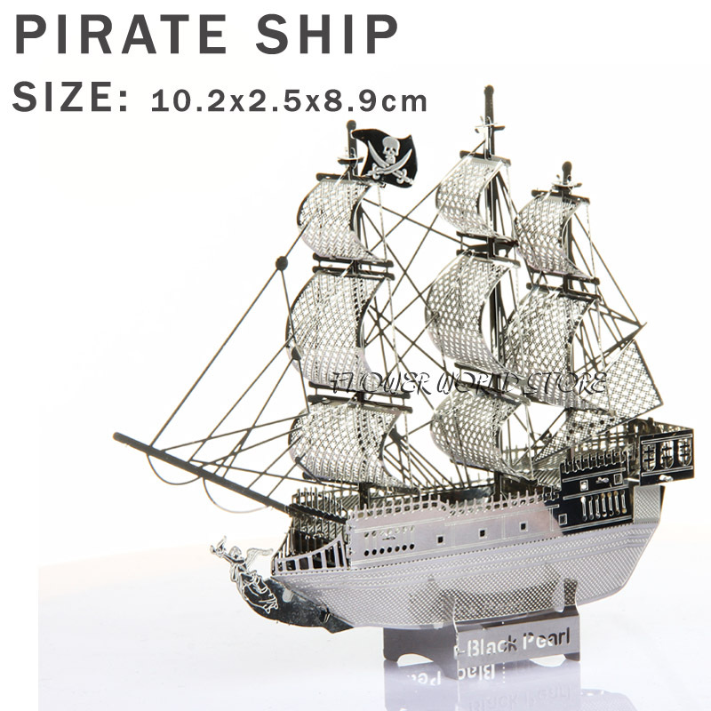 New creative Pirates of the Caribbean 3D puzzles 3D metal model DIY Black Pearl No. Sailboat Jigsaws Adult/Children gifts toys(China (Mainland))