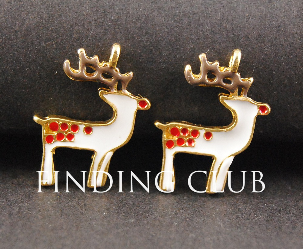 Free Shipping! 20pcs Gold plated Enamel Christmas Reindeer Charms Holiday Pendant RS163(China (Mainland))