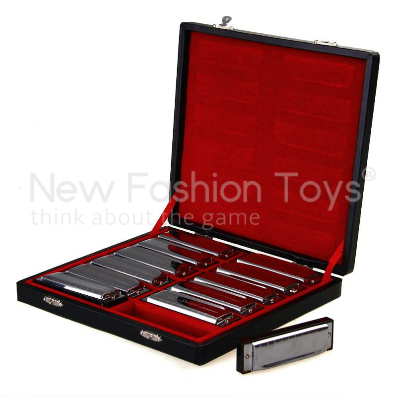 Set 12 pcs 10 Holes Diatonic Blues Harp Harmonica 12 Keys Music Silver Black with Case Top Quality(China (Mainland))
