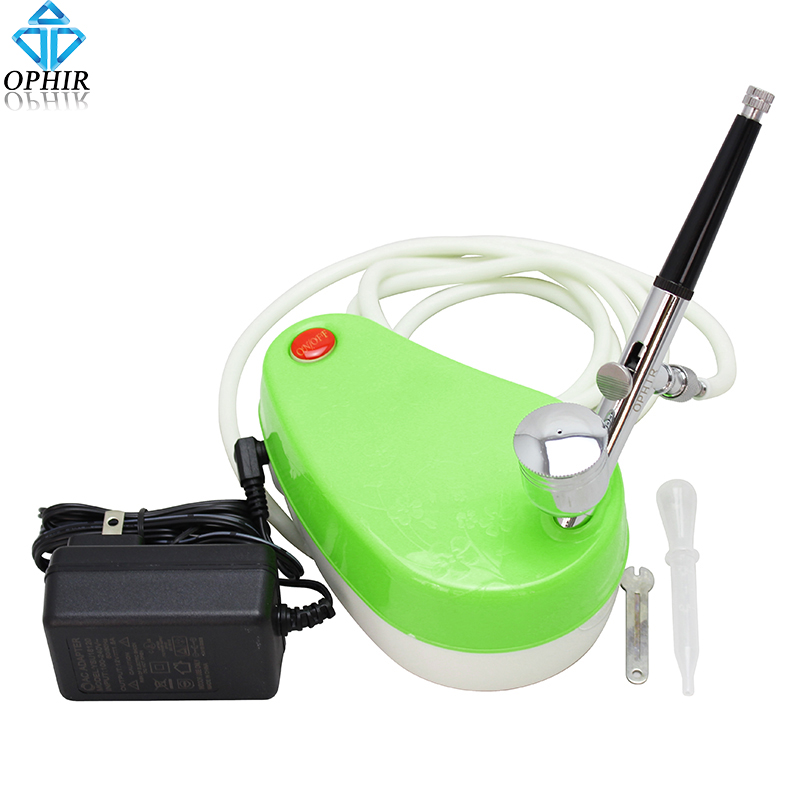 Фотография OPHIR Portable Green Mini Air Compressor 0.3mm Airbrush Kit Suitable for Makeup Nail Art_AC001G+AC004