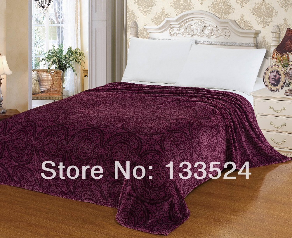"""Blanket Super Soft Warm Snug Plush Fleece Throw Sofa Couch Lounge Bed Vintage Classic Purple Queen Size 71"""" X 80""""(China (Mainland))"""