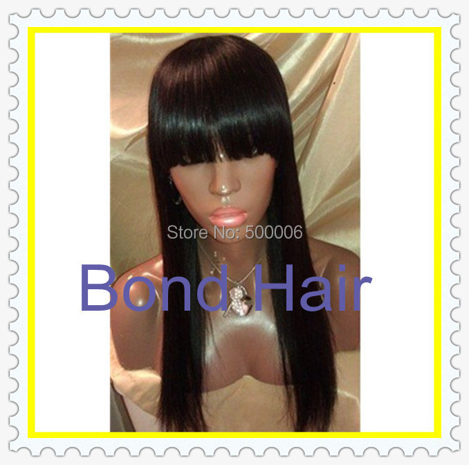 Queen Hair Products Brazilian Human Hair Lace Front Wigs&amp; Full Lace Wig With Bangs In Stock, DHL Free Shipping, Natural Color <br><br>Aliexpress