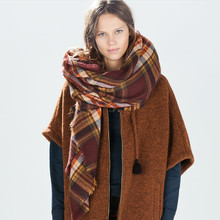 140 140CM Hot sale lady s winter Scarf font b Tartan b font Oversized Blanket women