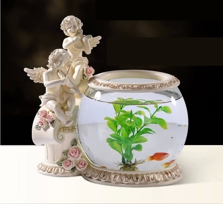 Music Angel Baby Figurine Fish Tank Decorative Houseware Aquarium Art and Craft Ornament Accessories for Parlor and Corridor(China (Mainland))