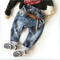 Free Shipping 2015 Boys Children Wear Thin Ripped jeans Pants Fashion Haren P pants High quality