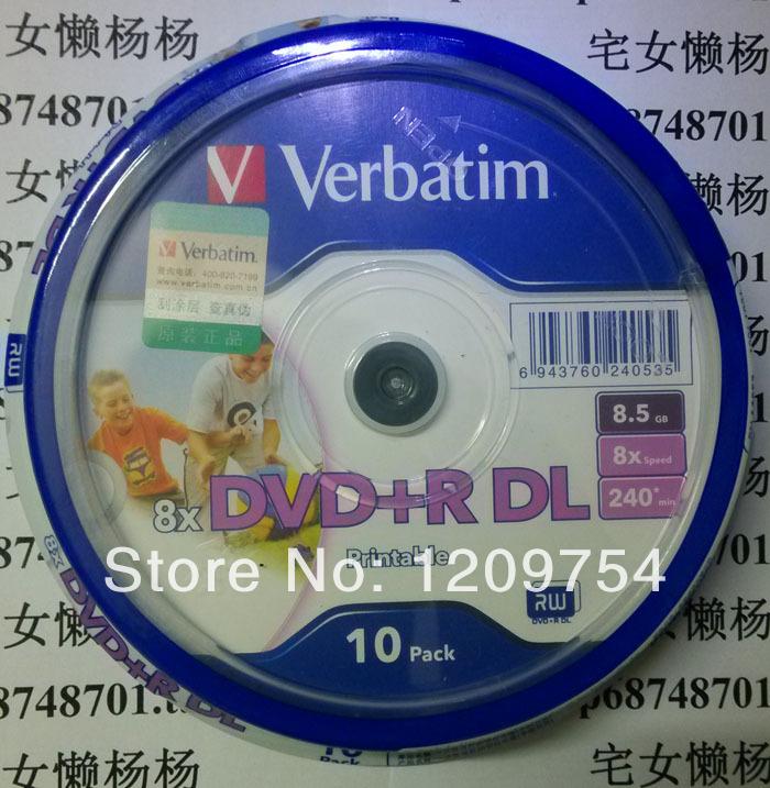 Verbatim Printable DVD discs 8X DVD+R DL, 10dvds 8.5G Verbatim Blank DVD Disks 8x DVD+R DL 8.5 GB Dual Double Layer Printable(China (Mainland))