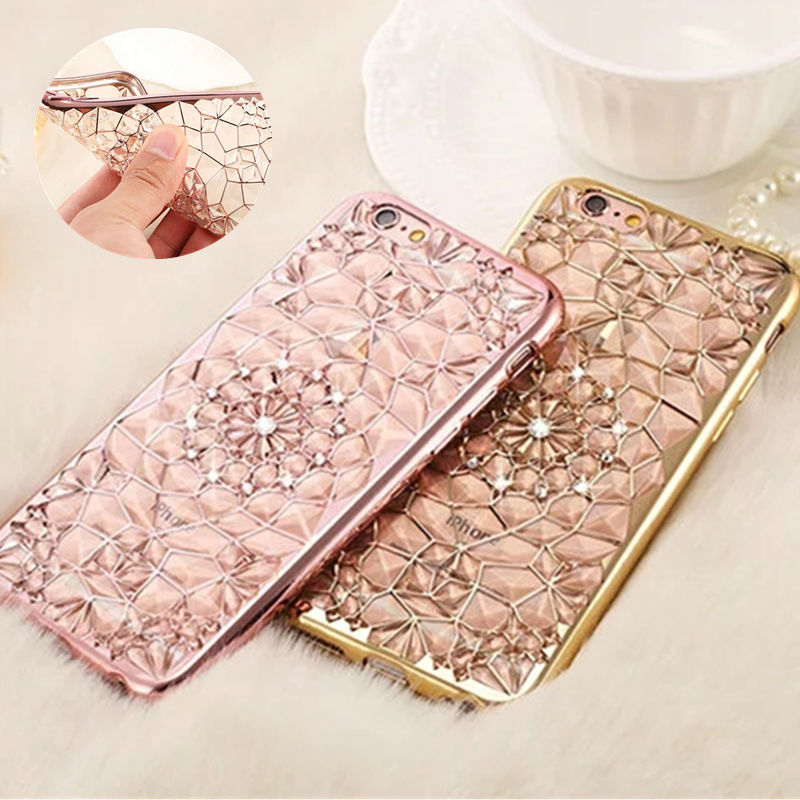 Bling Flower Silicon Plastic Soft TPU Celular For Apple Case On 5 6 6Plus 7 7 PLus Luxury Housing Back Cover For iPhone 5S SE 6S(China (Mainland))