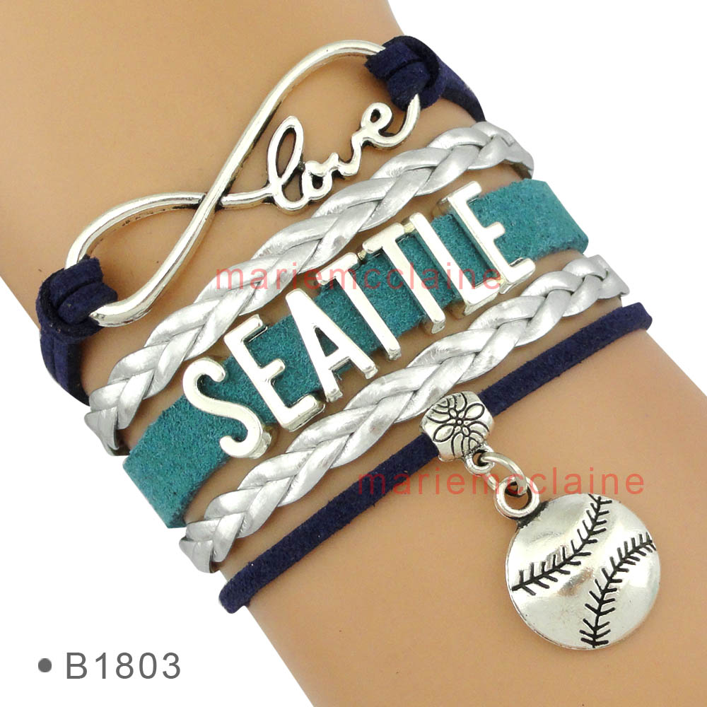 (30 PCS/lot) Infinity Love Seattle Baseball Team Bracelet Navy Green Silver Best Gift for Baseball Fans Jewelry Drop Shipping(China (Mainland))