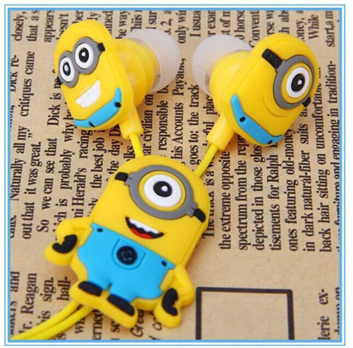 Despicable Me Cartoon Anime the Minion Style 3.5mm in ear Headphone Earphone for Mobile Phone MP3 player PC Computer(China (Mainland))