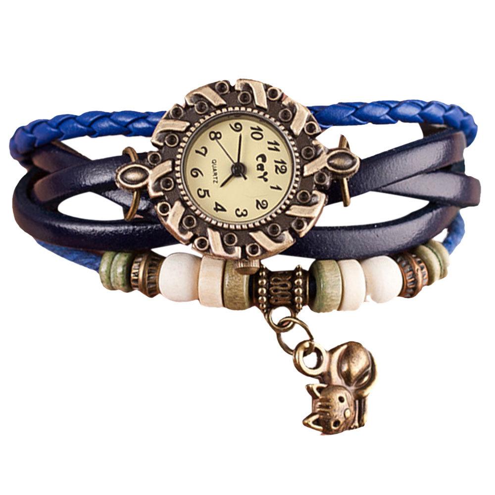 Гаджет  Relojes Mujer 2015 Fashion Bracelet Watch Women Leather Weave Around Quartz-Watch Women