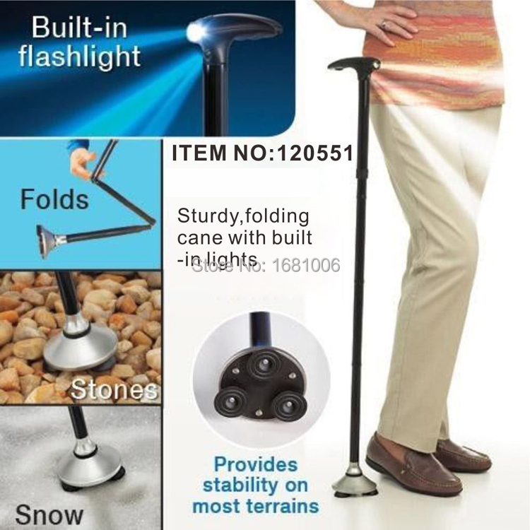 Foldable Walking Stick With 3 LED,Strong Outdoor Adjustable Lightweight Folding Cane Bastones Senderismo for old people SE010(China (Mainland))