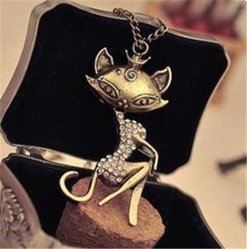 Retro fashion women sexy cat girl rhinestone crystal pendant necklace(China (Mainland))