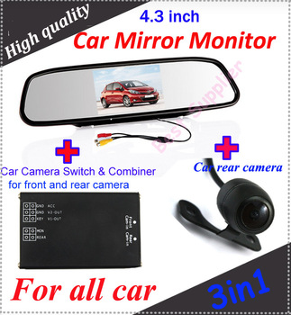 """2 channel car camera video switch for front and rear car camera system and car 4.3"""" Car Mirror Monitor and 1 PCS rear camera"""