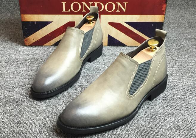 New Men Slip-on Dress Shoes Male Original Handmade Business Shoes Pointed Toe Casual Men's Shoes England Style Leather Shoes(China (Mainland))