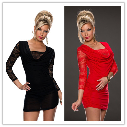 new in 2015 women black red lace Gauze patchwork evening party dresses perfume feminino original sexy hot club dresses one piece(China (Mainland))