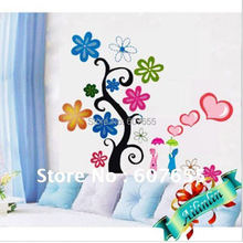 Hot sale!33*60cm,20pc/lot,colorful tree decoration wall sticker,flower room sticker - HOUSEHOLD-- Ellie Shao's store