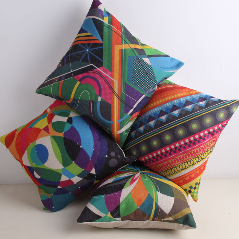 Bohemian Geometric Cotton Linen Cushion Cover Decorative Pillowcase Chair Seat Square 45x45cm Pillow Cover Home Textile Living