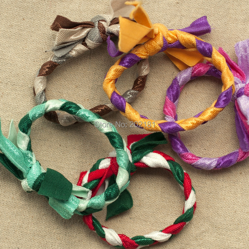20 pcs/lot candy colors Braids plaits Hairband Rope Ponytail Holder Emi Jay Like Hair Ties Elastic Hair Band Ties(China (Mainland))